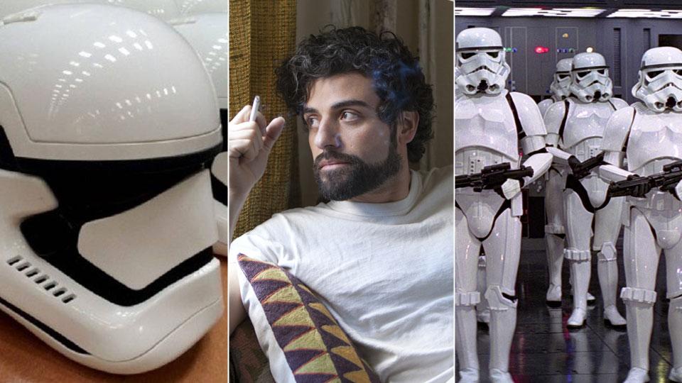 Oscar Isaac og stormtroopers fra «Star Wars».