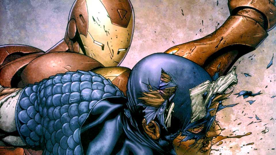 Captain America og Iron Man i krig i «Civil War». (Foto: Marvel)