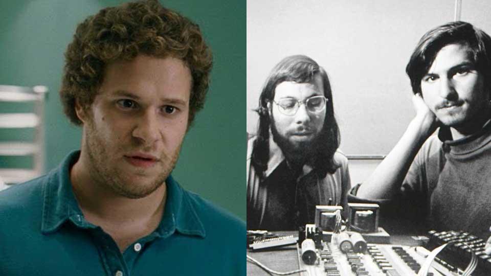 Seth Rogen er Steve Wozniak. Steve Jobs til høgre.