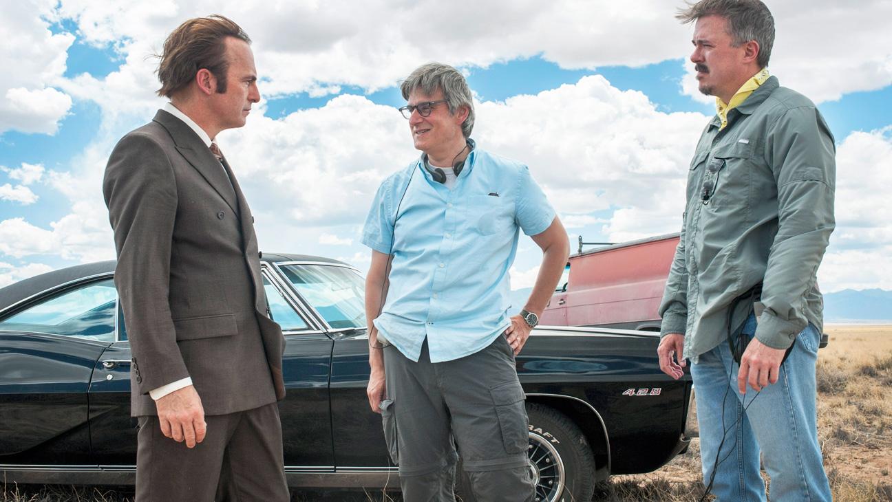 Better Call Saul: Bob Odenkirk, Peter Gould og Vince Gilligan. (Foto: AMC)