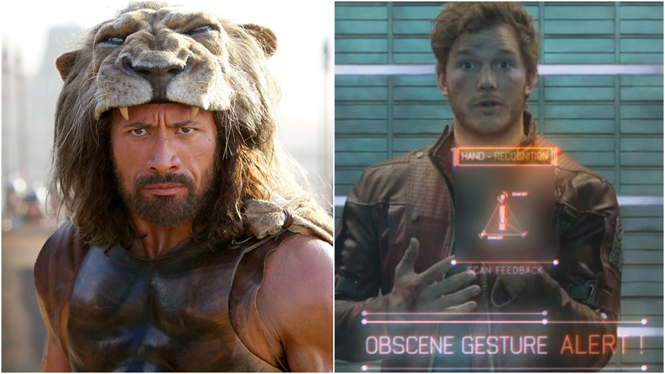 Guardians of the Galaxys Peter Quill (Chris Pratt) mot selveste Hercules (Dwayne Johnson).