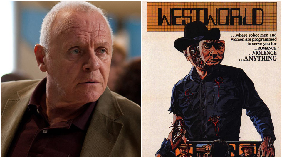 Anthony Hopkins fra «Red 2» og plakat fra «Westworld».