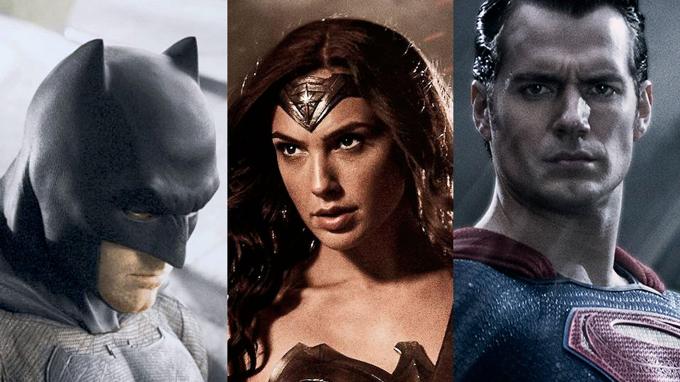 Batman, Wonder Woman og Supermann. Ben Affleck, Gal Gadot og Henry Cavill.